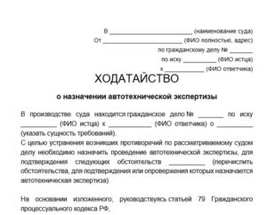 Ходатайство о назначении генетической экспертизы образец бланк