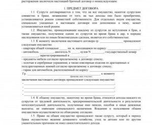 Брачный контракт, образец, бланк, пример