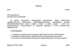 Приказ об утверждении должностных инструкций образец