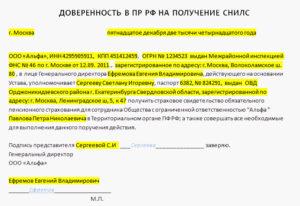 Доверенность на получение документов в ПФР образец бланк
