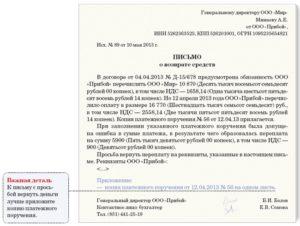 Письмо на возврат денежных средств образец и правила составления