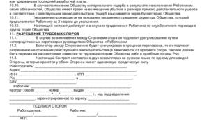 Трудовой договор с кассиром образец бланк