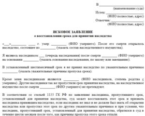 Заявление о восстановлении срока принятия наследства образец бланк