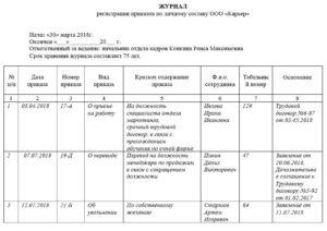 Журнал регистрации приказов образец бланк