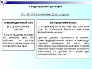 Виды трудового договора в российском праве.