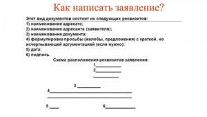 Как писать заявление образец
