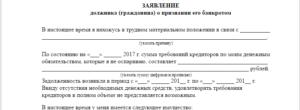 Заявление о признании должника банкротом образец бланк