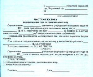 Частная жалоба ГПК РФ
