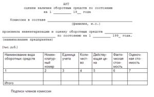Акт оценки образец бланк