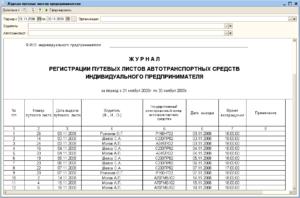 Журнал регистрации путевых листов образец бланк