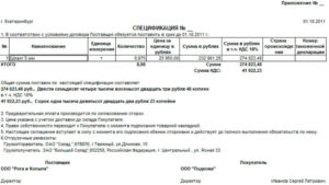 Спецификация к договору купли-продажи, образец, бланк
