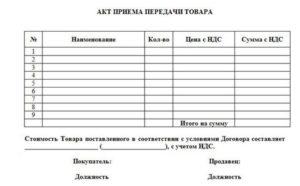 Акт передачи товара образец бланк