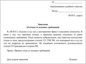 Заявление об отказе от иска образец бланк