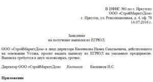 Запрос на выписку из ЕГРЮЛ образец
