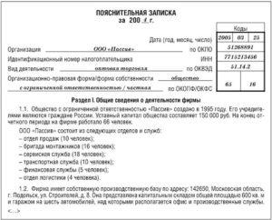Пояснительная записка к финансовой отчетности образец бланк