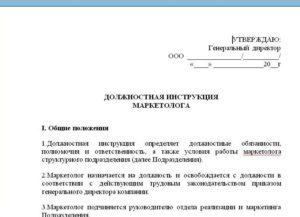 Должностная инструкция начальника ИТ отдела образец бланк