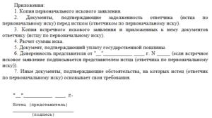 Пример встречного искового заявления
