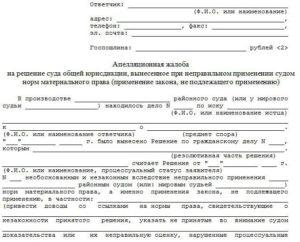 Апелляционная жалоба ГПК РФ