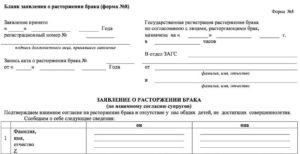 Заявление о расторжении брака образец бланк