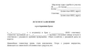 Заявление на развод в суд образец бланк