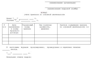 Журнал регистрации приказов по основной деятельности образец форма бланк