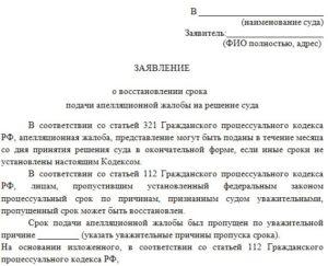 Заявление в суд о восстановлении срока обжалования