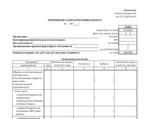 Приложение к бухгалтерскому балансу образец бланк