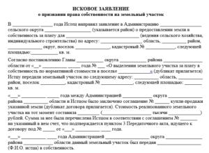 Исковое заявление о признании права собственности образец бланк