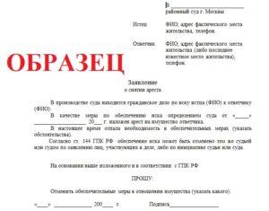 Заявление в суд о наложении ареста на денежные средства
