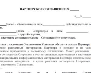 Образец партнерское соглашение учредителей