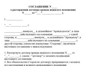 Акт расторжения договора аренды образец бланк