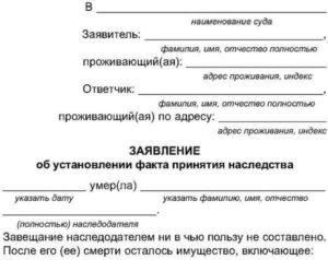 Заявление об установлении факта принятия наследства образец бланк