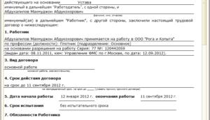 Трудовой договор с иностранным гражданином образец бланк