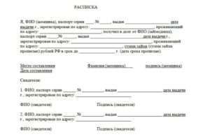 Расписка о возврате долга образец бланк