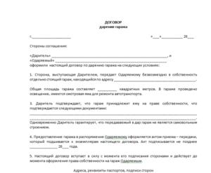 Договор дарения жилого помещения образец бланк