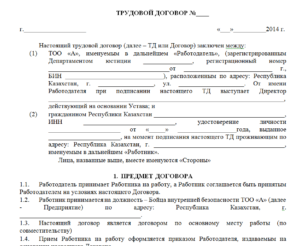 Индивидуальный трудовой договор образец бланк