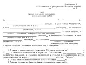 Акт расторжения договора образец бланк