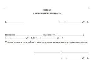 Приказ о назначении на должность образец