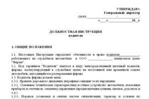 Должностная инструкция водителя-экспедитора образец бланк