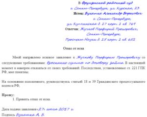 Отказ от исковых требований ГПК РФ