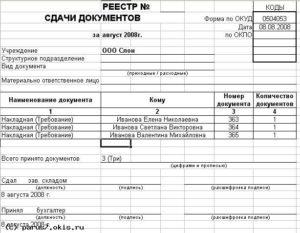 Реестр передачи документов образец бланк