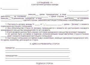 Соглашение о расторжении договора, заказчик физическое лицо