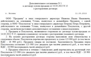 Дополнительное соглашение о расторжении договора образец бланк