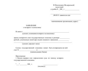 Заявление в налоговую инспекцию о возврате государственной пошлины