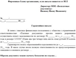 Гарантийное письмо в банк образец бланк