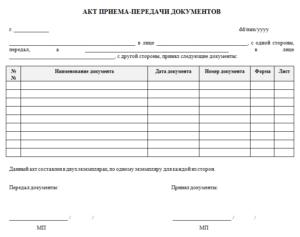 Акт приема-передачи строительных материалов образец бланк