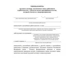 Типовой трудовой договор с работником
