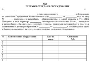 Акт приема-передачи инструмента образец бланк