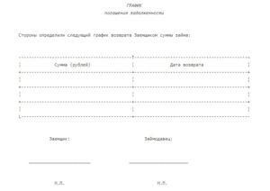 График погашения задолженности образец бланк