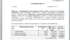 Спецификация к договору поставки образец бланк